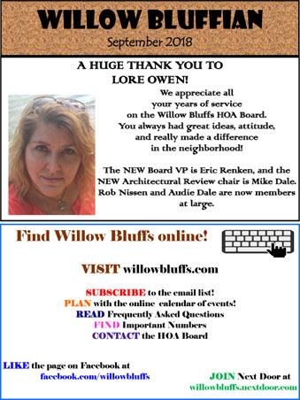 the willow bluffian neighborhood newsletter fall 2018 willowbluffs com